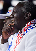 Outgoing president John Agyekum Kufuor looks on during a campaign rally organized by the New Patriotic Party (NPP) in Ghana's capital Accra on Friday December 5, 2008. Thousands of Ghanaians gathered in final rallies as they prepared to head to the polls on Sunday December 7 to elect a new government.