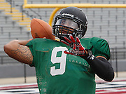 Lindenwood QB Darrien Boone throws the ball during practice.