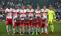 Switzerland team group (top row, from left to right) Denis Zakaria, Manuel Akanji, Granit Xhaka, Haris Seferovic, Stephan Lichtsteiner, Fabian Schar and goalkeeper Yann Sommer (bottom row, from left to right) Ricardo Rodriguez, Steven Zuber, Blerim Dzemaili and Xherdan Shaqiri during the 2018 World Cup Qualifying Play-Off, First Leg match at Windsor Park, Belfast. PRESS ASSOCIATION Photo. Picture date: Thursday November 9, 2017. See PA story SOCCER N Ireland. Photo credit should read: Niall Carson/PA Wire. RESTRICTIONS: Editorial use only. Commercial use only with prior written consent.