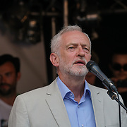 BBC Broadcasting House, London, UK, 1st July 2017. Jeremy Corbyn addresses the crowd Not one day more #ToriesOut a National Demonstration demand unconfident Tories out attack disable, Austerity, NHS School and demand Justice for Grenfell.