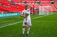 AFC Flyde forward Danny Rowe (9) with the trophy after scoring the winning goal during the FA Trophy final match between AFC Flyde and Leyton Orient at Wembley Stadium on 19 May 2019.
