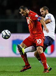 October 6, 2017 - Turin, Italy - Giorgio Chiellini (R) of Italy national team and Goran Pandev of FYR Macedonia national team vie for the ball during the 2018 FIFA World Cup Russia qualifier Group G football match between Italy and FYR Macedonia at Stadio Olimpico on October 6, 2017 in Turin, Italy. (Credit Image: © Mike Kireev/NurPhoto via ZUMA Press)