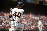San Francisco Giants starting pitcher Madison Bumgarner (40) bats against the Philadelphia Phillies at AT&T Park in San Francisco, California, on August 20, 2017. (Stan Olszewski/Special to S.F. Examiner)