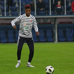 March 27, 2018 - Saint-Petersburg, Russia - Russian Federation. Saint-Petersburg. Arena Saint-Petersburg. Zenit-Arena. Football. Russia - France, Friendly match 1: 3. The football World Cup. The player of national team of Russia on football. Presnell Kimpembe. (Credit Image: © Russian Look via ZUMA Wire)