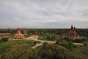 Myanmar Bagan Pagoda temples at sun set
