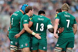 Leicester Tigers centre Manu Tuilagi is congratulated by team-mates after setting up Leicester's second try of the match - Photo mandatory by-line: Patrick Khachfe/JMP - Tel: Mobile: 07966 386802 - 21/09/2013 - SPORT - RUGBY UNION - Welford Road Stadium - Leicester Tigers v Newcastle Falcons - Aviva Premiership.