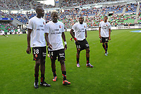 FOOTBALL - FRENCH CHAMPIONSHIP 2010/2011 - L1 - STADE RENNAIS v AS SAINT ETIENNE - 21/08/2010 - PHOTO PASCAL ALLEE / DPPI - RENNES PLAYERS WHITH TEE SHIRT FOR FABIEN LEMOINE  WOUNDED LAST JOURNEY