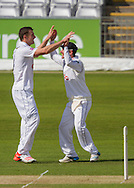 Adam Wheater (Hampshire CCC) celebrates after taking the wicket of Scott Borthwick (Durham County Cricket Club) during the LV County Championship Div 1 match between Durham County Cricket Club and Hampshire County Cricket Club at the Emirates Durham ICG Ground, Chester-le-Street, United Kingdom on 1 September 2015. Photo by George Ledger.