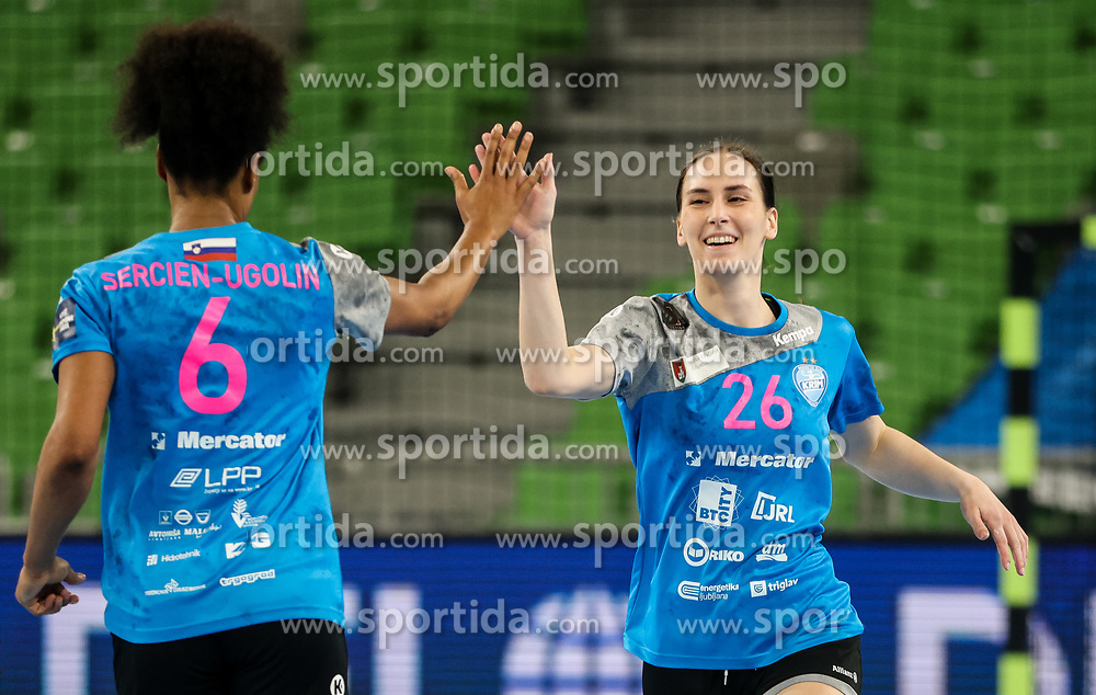 Oceane Sercien Ugolliln and Tija Gomilar Zickero of Krim Mercator celebrate during 1st Leg handball match between RK Krim Mercator (SLO) and CSKA Moscow (RUS) in the Round of 16 of Delo EHF Women's Champions League 2020/21, on March 6, 2021 in Arena Stozice, Ljubljana, Slovenia. Photo by Vid Ponikvar / Sportida