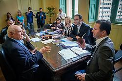 Porto Alegre, RS 10/02/2020: O prefeito, Nelson Marchezan Júnior, recebeu em audiência, na manhã desta segunda-feira (10), em seu Gabinete, no Paço Municipal, o senador, Lasier Martins. O secretário municipal da Saúde, Pablo Stürmer, participou do encontro. Foto: Jefferson Bernardes/PMPA