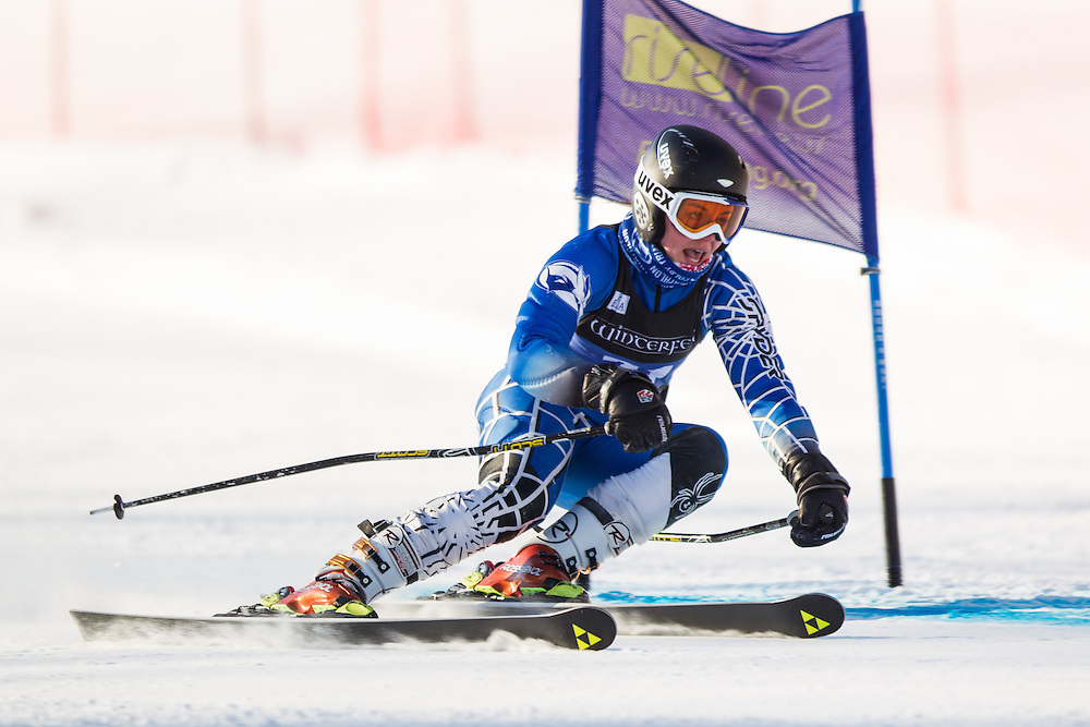 Destrey Enders of Colby College, skis during the first run of the women's giant slalom at the Dartmouth Carnival at Dartmouth Skiway on February 7, 2014 in Lyme, NH. (Dustin Satloff/EISA)
