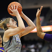 HARTFORD, CONNECTICUT- JANUARY 4: Katie Lou Samuelson #33 of the Connecticut Huskies shoots over Dominique Claytor #23 of the East Carolina Lady Piratesduring the UConn Huskies Vs East Carolina Pirates, NCAA Women's Basketball game on January 4th, 2017 at the XL Center, Hartford, Connecticut. (Photo by Tim Clayton/Corbis via Getty Images)