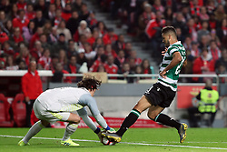 February 6, 2019 - Lisbon, Portugal - Benfica's Belgian goalkeeper Mile Svilar vies with Sporting's forward Luiz Phellype from Brazil (R ) during the Portugal Cup Semifinal first leg football match SL Benfica vs Sporting CP at Luz stadium in Lisbon, on February 6, 2019. (Credit Image: © Pedro Fiuza/ZUMA Wire)