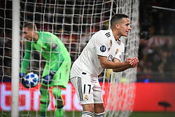 November 27, 2018 - Rome, Italy - Real Madrid's Spanish midfielder Lucas Vazquez celebrates after scoring 0-2 during the Champions league football match between AS Roma  and Real Madrid at Olimpico stadium in Rome, Italy, on November 27, 2018. (Credit Image: © Federica Roselli/NurPhoto via ZUMA Press)