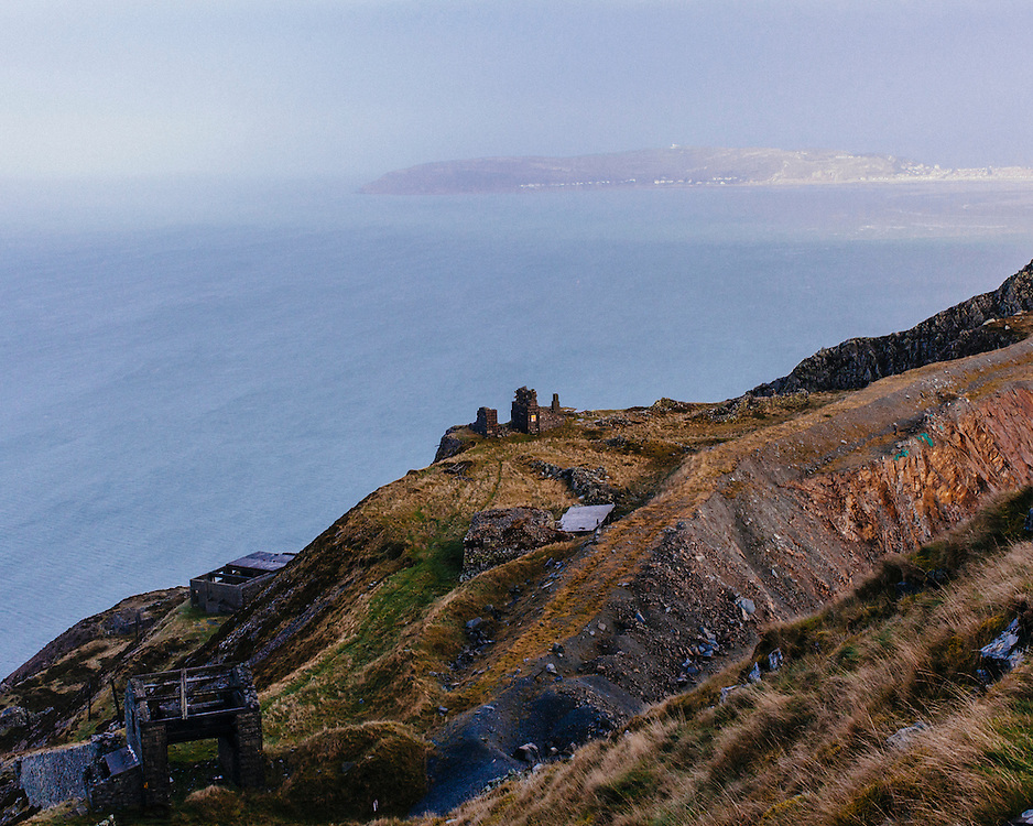 View of Ruins on top of Panmaenmawr Quarry looking out to sea