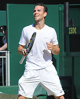 Tennis - 2017 Wimbledon Championships - Week One, Saturday [Day Six]<br /> <br /> Mens singles - Third round match<br /> Gael Monfils (FRA) v Adrian Mannarino (FRA) <br /> <br /> Adrian Mannarino celebrates his win on  Court 12<br /> <br /> COLORSPORT/ANDREW COWIE