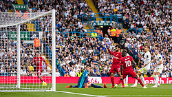 LEEDS, ENGLAND - Sunday, September 12, 2021: Liverpool's Mohamed Salah scores the first goal. his 100th Premier League goal, during the FA Premier League match between Leeds United FC and Liverpool FC at Elland Road. Liverpool won 3-0. (Pic by David Rawcliffe/Propaganda)