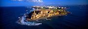 PUERTO RICO, SAN JUAN El Morro fortress with city skyline beyond