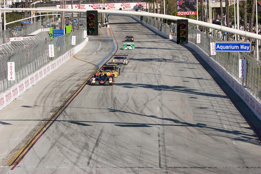American Lemans Series racers on Shoreline Drive racing toward Aquariaum Way. Long Beach Grand Prix, 2009