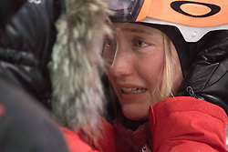 February 11, 2018 - Pyeongchang, South Korea - JUSTINE DUFOUR-LAPOINTE of Canada cries as she is congratulated at the finish line for her silver medal finish at the Womens Moguls finals Sunday, February 11, 2018 at Phoenix Snow Park at the Pyeongchang Winter Olympic Games.  Photo by Mark Reis, ZUMA Press/The Gazette (Credit Image: © Mark Reis via ZUMA Wire)