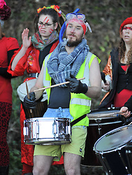 Revellers were treated to a samba band as they prepared to take the plunge in the annual Loony Dook event in the Forth on New Years Day.<br /> <br /> © Dave Johnston/ EEm