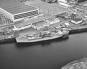 Ackroyd 14830 NW Marine Iron Works. Aerial of Swam Island dry docks. September 6, 1967