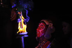 September 7, 2017 - Kathmandu, Nepal - Nepalese devotees dressed as various God and Goddess holds oil lamp during fifth day of Indra Jatra Festival celebrated at Basantapur Durbar Square. Devotees celebrated the god of rain 'Indra' for 8 days in Kathmandu. The huge mask of Swet Bhairab is only open for a week during Indra Jatra festival. Devotees celebrated the god of rain 'Indra' for a week in Kathmandu. (Credit Image: © Narayan Maharjan/Pacific Press via ZUMA Wire)
