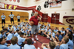 June 7, 2017 - Former UCLA men's basketball coach Jim Harrick, speaks to children during the Merced Basketball Camp at Golden Valley High School in Merced, Calif., on Wednesday, June 7, 2017. Harrick coached the Bruins to a national championship in 1995. (Credit Image: © Andrew Kuhn/The Merced Sun Star via ZUMA)
