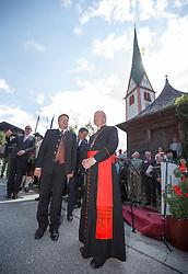 23.08.2015, Alpbach, AUT, Forum Alpbach 2015, Tiroltag, feierliche Eröffnung, im Bild v.l. Tirols Landeshauptmann Günther Platter (ÖVP), Kardinal Christoph Schönborn // f.l.t.r. Günther Platter (Governor of the Province of Tyrol) Cardinal Christoph Schönborn during the opening Ceremony of 2015 European Forum Alpbach in Alpbach, Austria on 2015/08/23. EXPA Pictures © 2015, PhotoCredit: EXPA/ Johann Groder