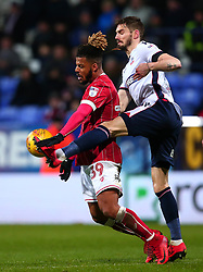 Lois Diony of Bristol City takes on Dorian Dervite of Bolton Wanderers - Mandatory by-line: Robbie Stephenson/JMP - 02/02/2018 - FOOTBALL - Macron Stadium - Bolton, England - Bolton Wanderers v Bristol City - Sky Bet Championship
