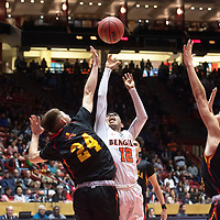 Gallup Bengal Isaac Bustinza (12) drives to the basket during their 4A boys NMAA State Basketball quarterfinal playoff game against Espanola Valley Sundevils at Dreamstyle Arena (The Pit) Wednesday night in Albuquerque.