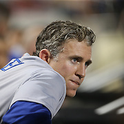 NEW YORK, NEW YORK - May 28:  Chase Utley #26 of the Los Angeles Dodgers in the dugout during the Los Angeles Dodgers Vs New York Mets regular season MLB game at Citi Field on May 28, 2016 in New York City. (Photo by Tim Clayton/Corbis via Getty Images)