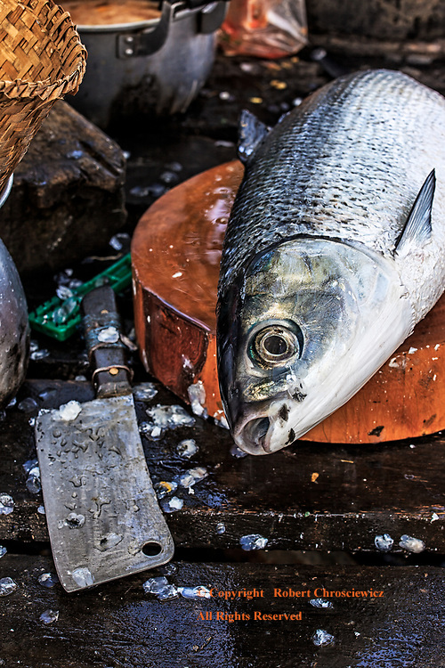 Life & Death: A recently caught fish sits upon a wooden chopping block, next to a meat cleaver, waiting the completion of it's fate, Ko Muk Thailand.