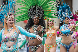 © Licensed to London News Pictures. 30/12/2018. London, UK. Dancers from the London School of Samba perform at a preview in Trafalgar Square ahead of the London New Year's Day Parade. More than 8,000 performers from 26 countries will take part in the parade on 1st January 2019. Photo credit: Rob Pinney/LNP