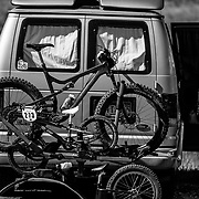 Tim Rangitsch's van loaded with his Salsa fat bike and his 6 year olds bike.