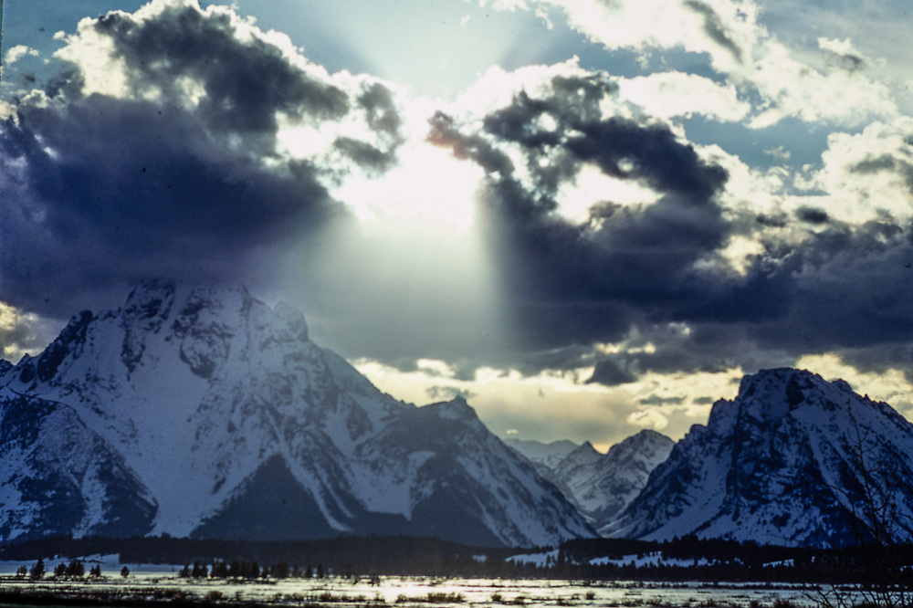 Mount Moran, sunburst, winter, Grand Teton National Park, Wyoming, USA