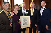 Photo by Mara Lavitt <br /> September 16, 2015 <br /> The United Way of Greater New Haven's Tocqueville Society honored David Newton, center, with the Herbert H. Pearce Award. From left: Thomas Samson, Barbara Pearce, David Newton, Jack Healy, and Andrew Boone.