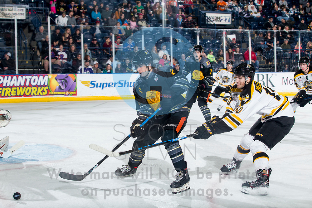 Youngstown Phantoms lose 4-2 to the Green Bay Gamblers at the Covelli Centre on January 25, 2020.<br /> <br /> Aiden Gallacher, defenseman, 2