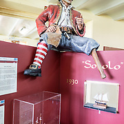 A model of a pirate sits astride an exhibit at the Maritime Museum of Ushuaia commemorating the region's maritime history.