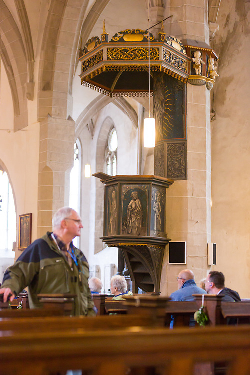 Martin Luther gave his last four sermons from the pulpit at St. Andreas Church in Eiselban, Germany. Tour members were able to visit the church to walk through.