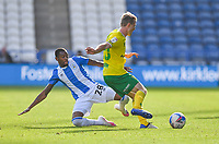 Huddersfield Town's Jaden Brown fouls Norwich City's Oliver Skipp<br /> <br /> Photographer Dave Howarth/CameraSport<br /> <br /> The EFL Sky Bet Championship - Huddersfield Town v Norwich - Saturday September 12th 2020 - The John Smith's Stadium - Huddersfield<br /> <br /> World Copyright © 2020 CameraSport. All rights reserved. 43 Linden Ave. Countesthorpe. Leicester. England. LE8 5PG - Tel: +44 (0) 116 277 4147 - admin@camerasport.com - www.camerasport.com