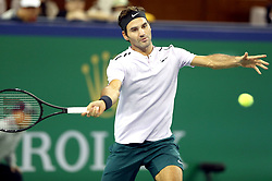 SHANGHAI, Oct. 12, 2017  Roger Federer of Switzerland hits a return during the singles third round match against Alexandr Dolgopolov of Ukraine at 2017 ATP Shanghai Masters tennis tournament in Shanghai, east China, on Oct. 12, 2017. (Credit Image: © Fan Jun/Xinhua via ZUMA Wire)