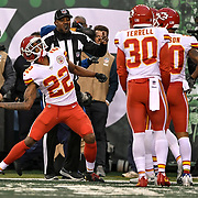 Kansas City Chiefs cornerback Marcus Peters (22) was flagged after picking up a penalty flag and throwing it into the crowd late in the fourth quarter against the New York Jets on December 3, 2017 at MetLife Stadium in East Rutherford, NJ. The Jets won, 38-31.