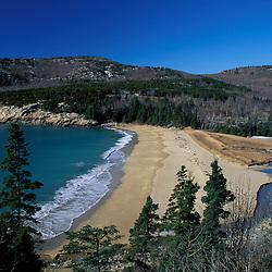 Sand Beach, Acadia N.P., ME. Mt. Desert Island Beaches February.  Maine Coast.  Beaches.  Atlantic Ocean.  Spruce.  Mt. Desert Island.