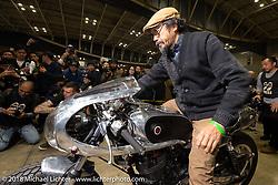 Shinya Kimura rides his Chabott Engineerying 1978 / 2018 Yamaha SR Crystal Trophy in the Grand Entry into the  27th Annual Mooneyes Yokohama Hot Rod Custom Show 2018. Yokohama, Japan. Sunday, December 2, 2018. Photography ©2018 Michael Lichter.