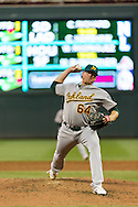 Oakland Athletics starter A.J. Griffin pitches against the Minnesota Twins on July 13, 2012 at Target Field in Minneapolis, Minnesota.  The Athletics defeated the Twins 6 to 3.  © 2012 Ben Krause