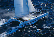 Team Adventure, helmed by Team Adventure off the Coast of Antibe before the start of The Race, a round the world, no limits race.  These are the world's fastest sailboats attaining speeds of more than 40 knots.
