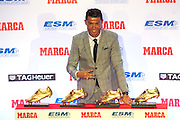 MADRID, SPAIN, 2015, OCTOBER 13 <br /> <br /> Cristiano Ronaldo fourth golden boot<br /> <br /> Cristiano Ronaldo received his fourth Golden Boot at the Westin Palace Hotel in Madrid<br /> In the picture:<br /> ©Exclusivepix Media