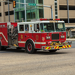 Harrisburg, PA, USA- July 7, 2012: A Harrisburg Fire Engine Responds to an mergency call.