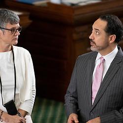 Texas Senate action on Tuesday, May 18, 2021 showing  Sen. Sarah Eckhardt, D-Auston and Sen. Jose Menendez, D-San Antonio.